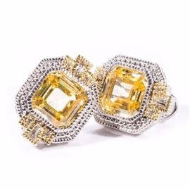 Judith Ripka Sterling Silver and 18K Gold White Sapphire and Yellow Crystal Earrings: A pair of sterling silver and yellow crystal earrings accented with white sapphires set in 18K yellow gold by Judith Ripka.