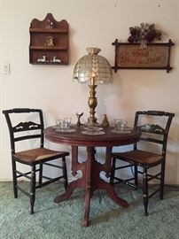 Parlor Table with Hitchcock Chairs