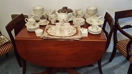 DUNCAN PHYFE DINING TABLE WITH 2 LEAVES & DROP SIDES + 4 SIDE CHAIRS & 2 ARM CHAIRS + MATCHING BOW FRONT CHINA CABINET (NOT SHOWN).....EXC CONDITION....ALL FOR $500 CASH + SALES TAX