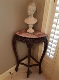 Corner table with marble top