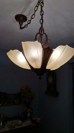 Art deco 5 slip shade chandelier