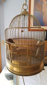 brass bird cage and stand