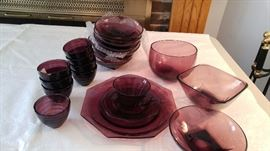 Amethyst - 4 matching plates, cups and saucers; 8 bowls, 8 custard cups + more