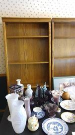 two oak bookcases