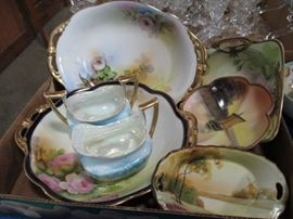 Antique Hand Painted serving pieces