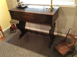 Antique Walnut flip top desk