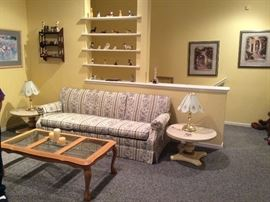 Couch, Regency end tables w/marble tops, Glass top coffee table, Pair Touch lamps.Wall shelf, knick knacks.