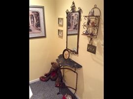 Italian Style, Antique iron wall table and mirror set