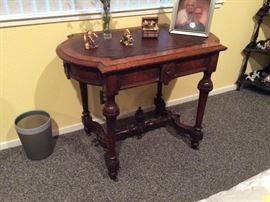 Leather top Antique side table, East lake style