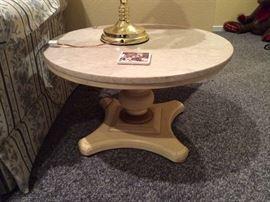 Marble top end tables (2) 60's-70's regency
