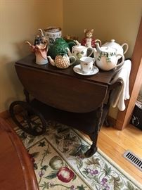 Tea Cart and Tea Pot Collection