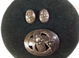 Georg Jensen Sterling Brooch & Earrings