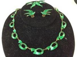 Green Enamel Sterling Jewelry