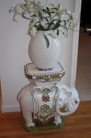 elephant Table with White Vase and Floral Arrangement