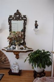 Loads of Decorative, Mirror, Marble Topped Wall Shelf