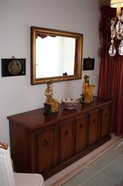 Large Framed Mirror and Server with Asian Decorative