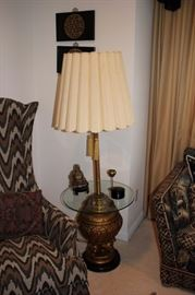 Table Lamp with Glass Top and Small Decorative