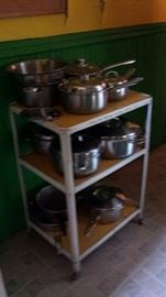 Great Stainless Steel Pots on Mid Century Metal Cart
