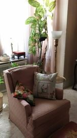 Chair with decorative pillows and Mid Century floor/table lamp