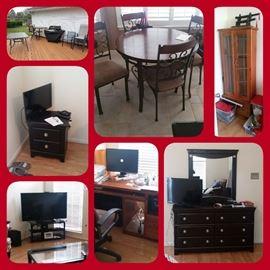 Computer, tv, dresser, office desk