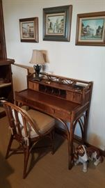 rattan desk & chair