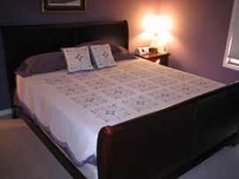 King Sized Sled Bed  Tempa pedic Mattress Box Springs