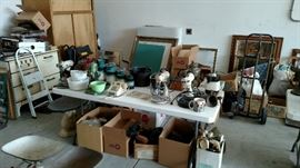 Vintage cast iron cookware and mixers