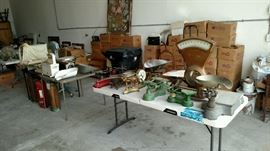 More vintage scales, fire extinguishers, boxes full of Playboy and Life magazines