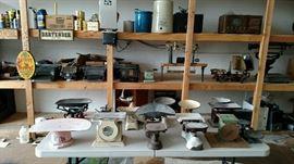 Antique typewriters, vintage radios and vintage crocks