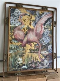 Mid Century flamingo painting by artist Margo Alexander