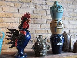 Rarely Seen Rooster and 3 high Face Jug