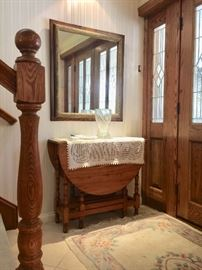 Oak & Gilt Moulding framed Mirror, Gate leg Table