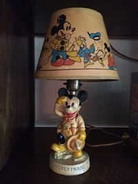 "RARE ""Mickey Mouse"" 1938 Scout, Walt Disney Enterprises - table lamp & original Shade by La Mode"