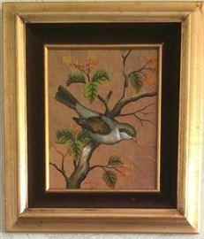 Signed by Thai artist Lert.  Oil on Leaves.  11x13