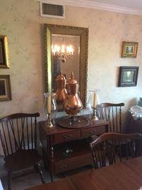 Copper & Brass Samovar; Brass Candlesticks & Glass Hurricanes; Framed, Beveled Mirror; Ethan Allen Drop Leaf Sideboard/Server