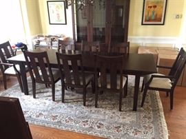 Ethan Allen Dining Room Table.  Excellent condition, hard dark brown wood,
