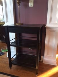Bar cart with drawer; black wood, Pier 1, on wheels