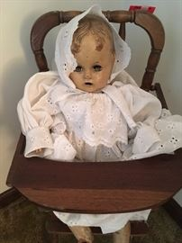 Vintage doll and doll chair