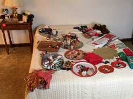 Queen size bed, Christmas items