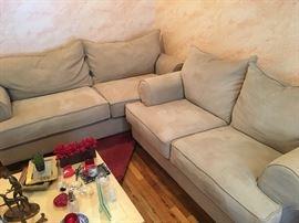 Tan microfiber sofas