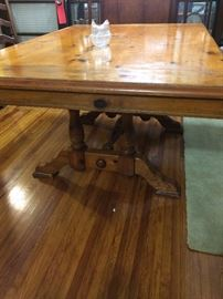 This is a beautiful knotty pine trestle table - again smaller (no leaves), just the perfect size