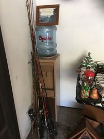 Fishing poles and water cooler