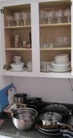 Glassware , Dishes, pots and pans,stainless steel