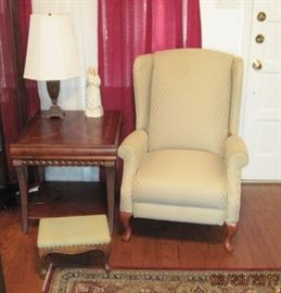 Nice recliner , lamp and side table
