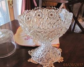 Lovely pressed glass punch bowl and stand
