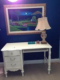 Desk, Lamp, Picture