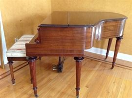 Side View Baby Grand Piano & Bench
