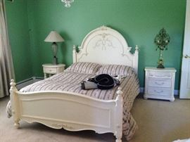 Queen Bed, Side Tables, Lamps