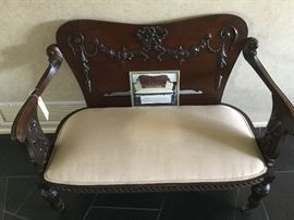 Victorian era 1860-1900; English Regency style mahogany settee