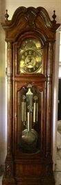 Charles R Sigh large dark oak grandfather clock